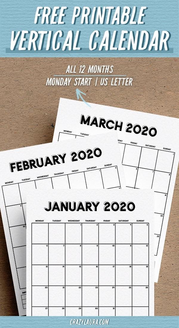 free 2020 basic calendar printable