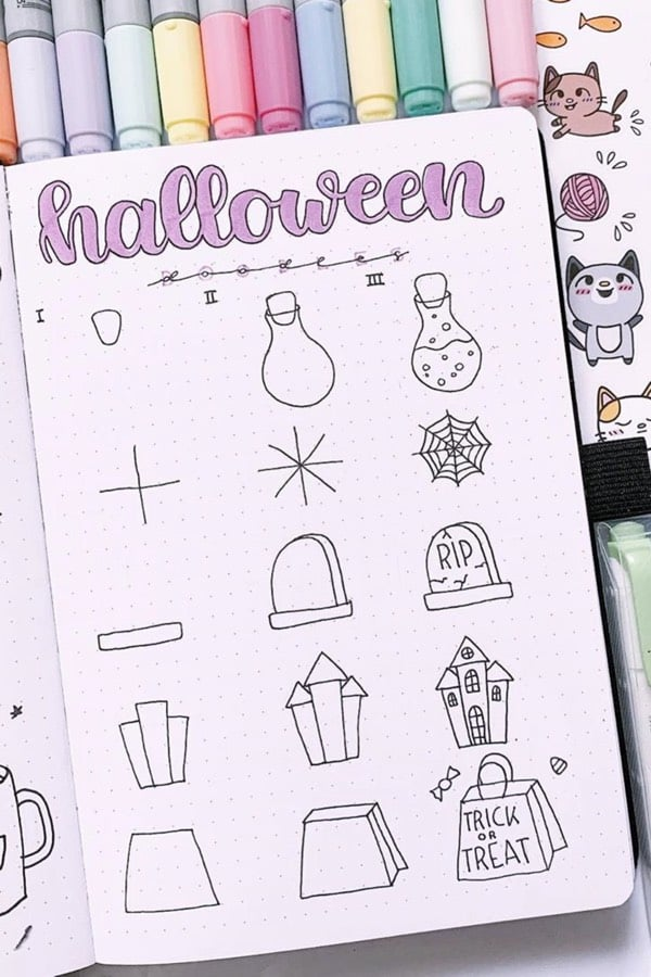 october bullet journal doodle ideas
