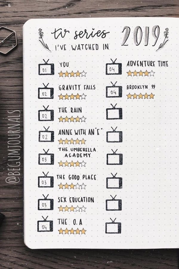 bujo tv series tracker ideas