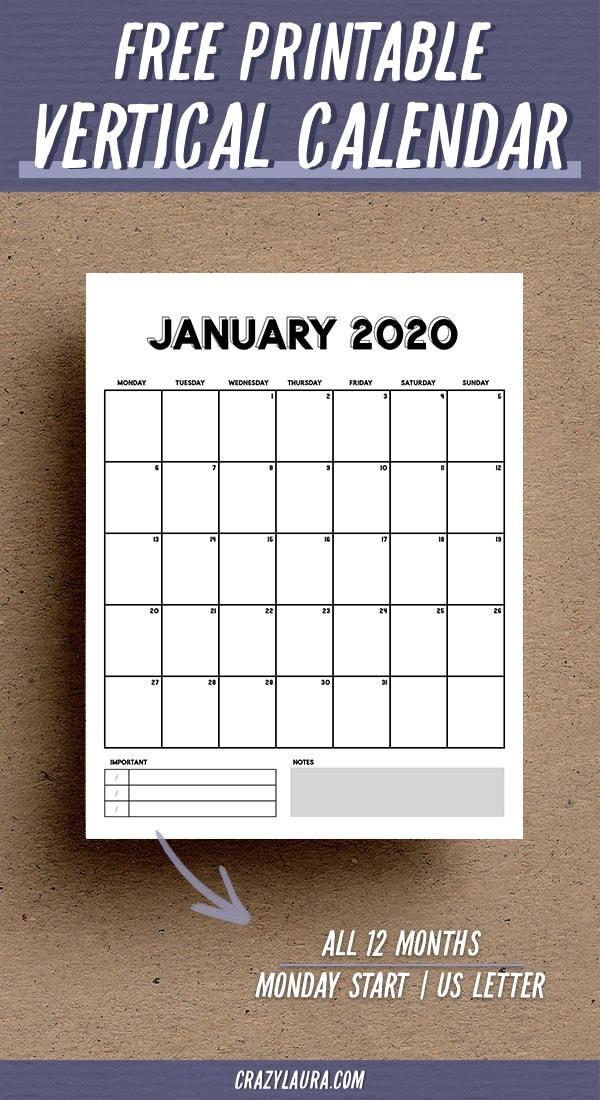minimalist vertical calendar printable