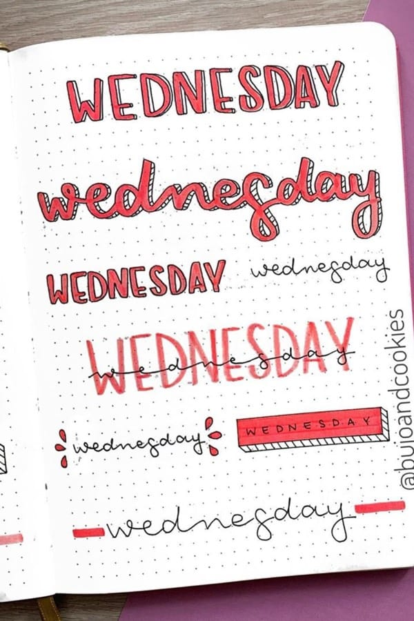 cute wednesday header examples for bullet journal