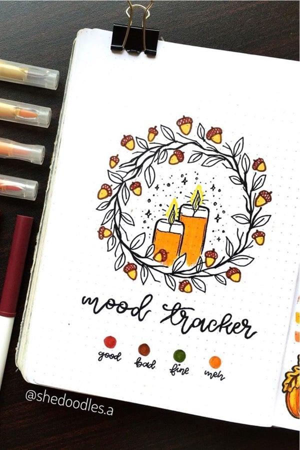 cute fall wreath tracker in bullet journal