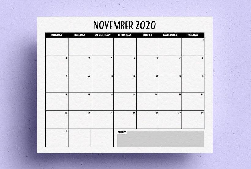 blank template for 2020 calendar