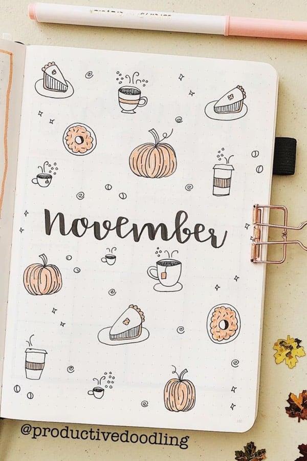 cute bullet journal cover for november