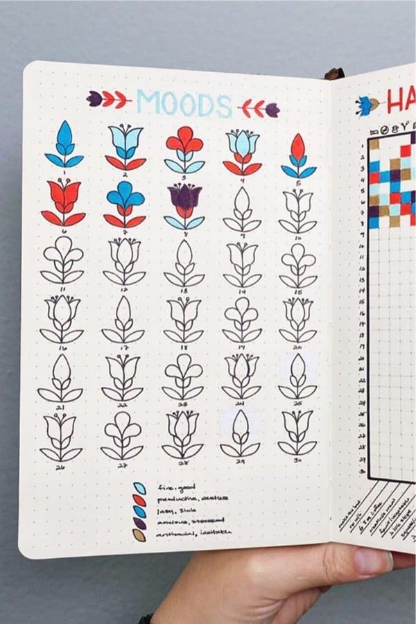 colorful bullet journal tracker for feelings