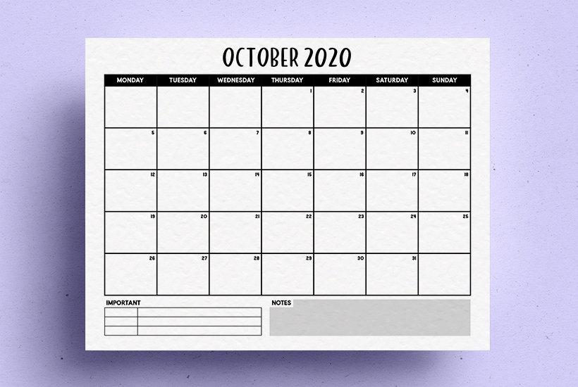 basic calendar printable for 2020
