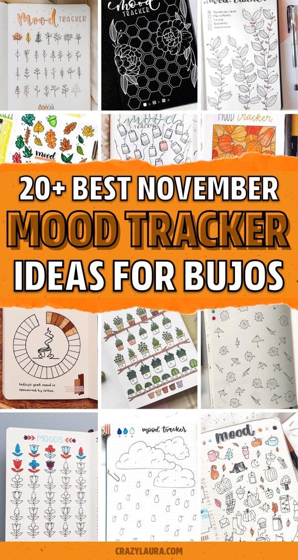 bujo layouts for november mood trackers