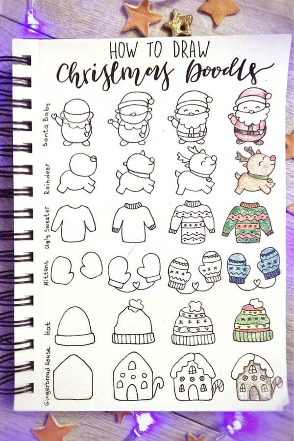 easy tutorial for christmas doodles