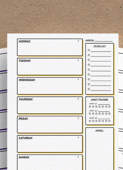 minimalist free weekly planner printable