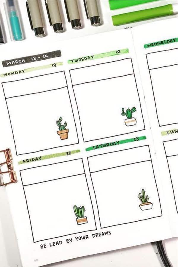 easy bujo theme with cactus