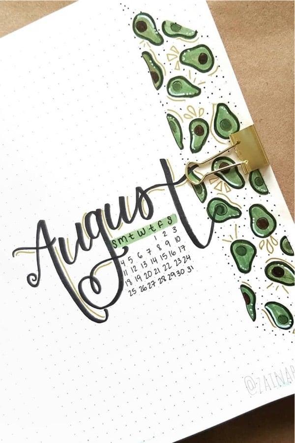 bujo cover spread idea with avocados