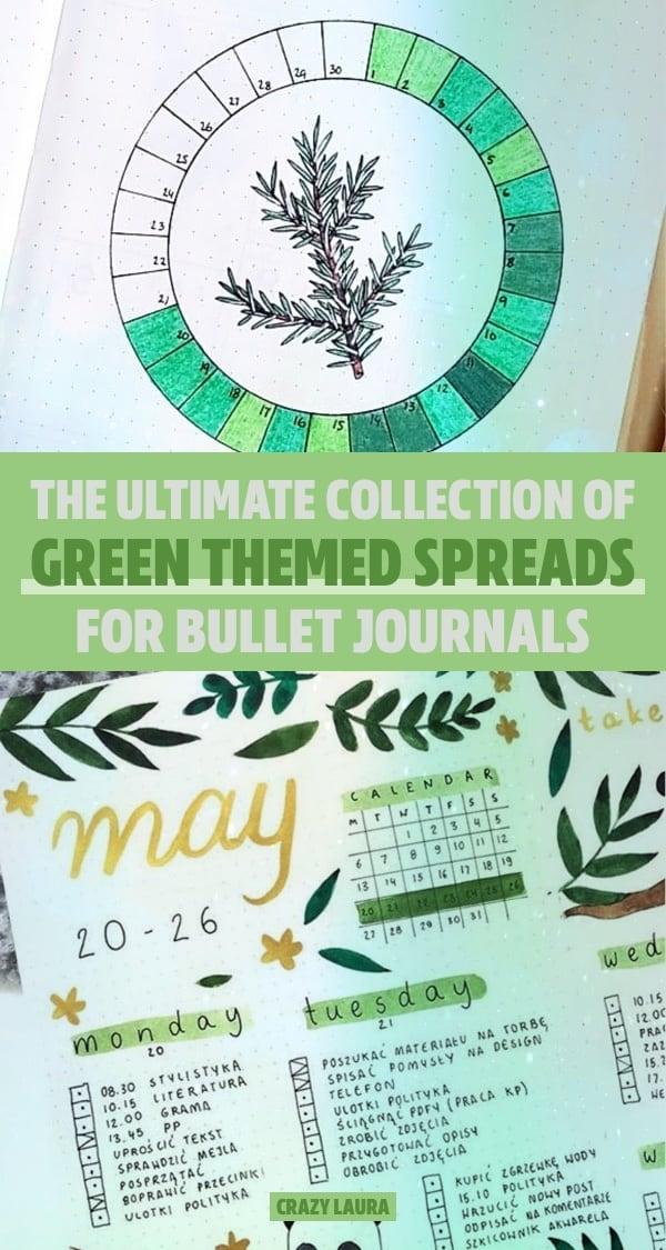 easy green bujo theme examples