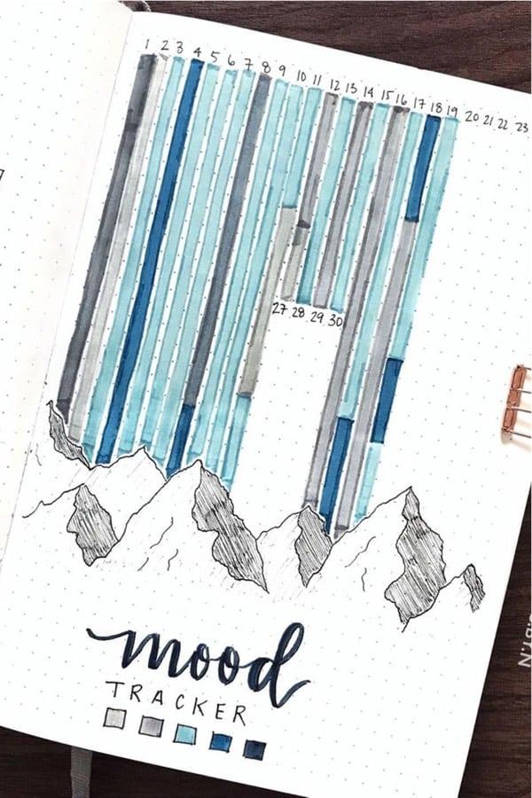 creative ideas for winter bujo tracker