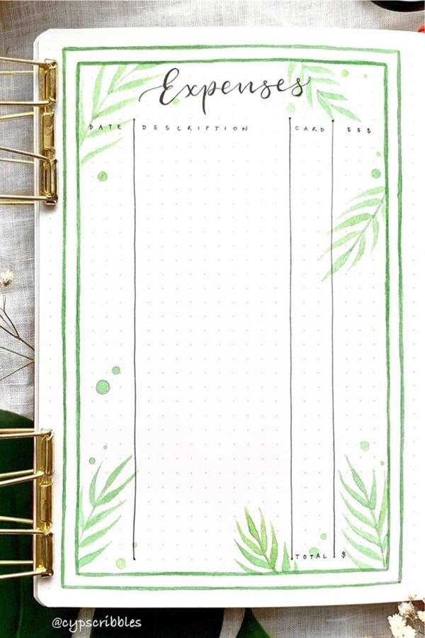 green themed bujo budget spread