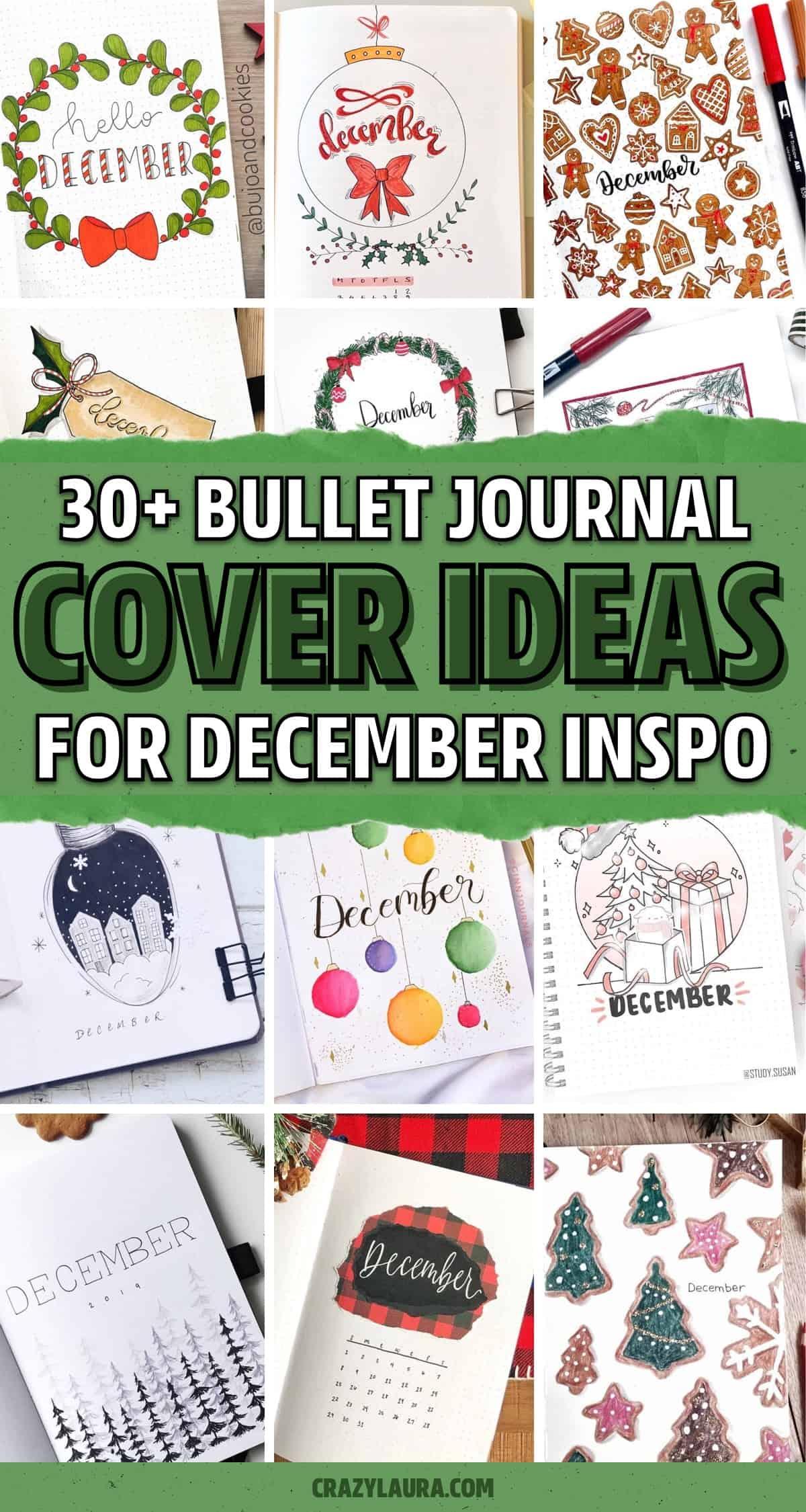 list of december bujo cover spreads