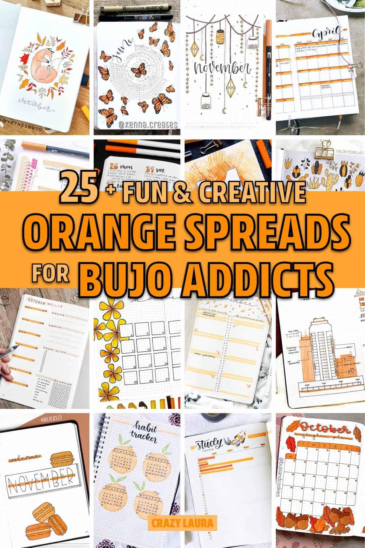 bullet journal orange themed ideas