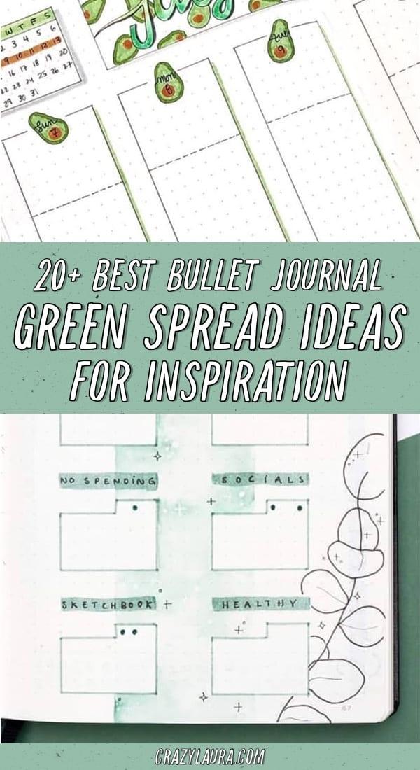 list of green themed bujo ideas