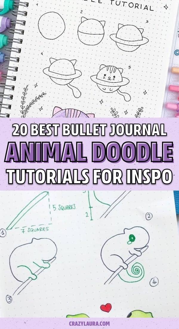 easy animal doodles for journal