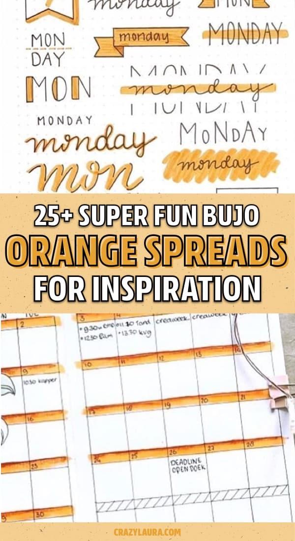 orange bujo ideas