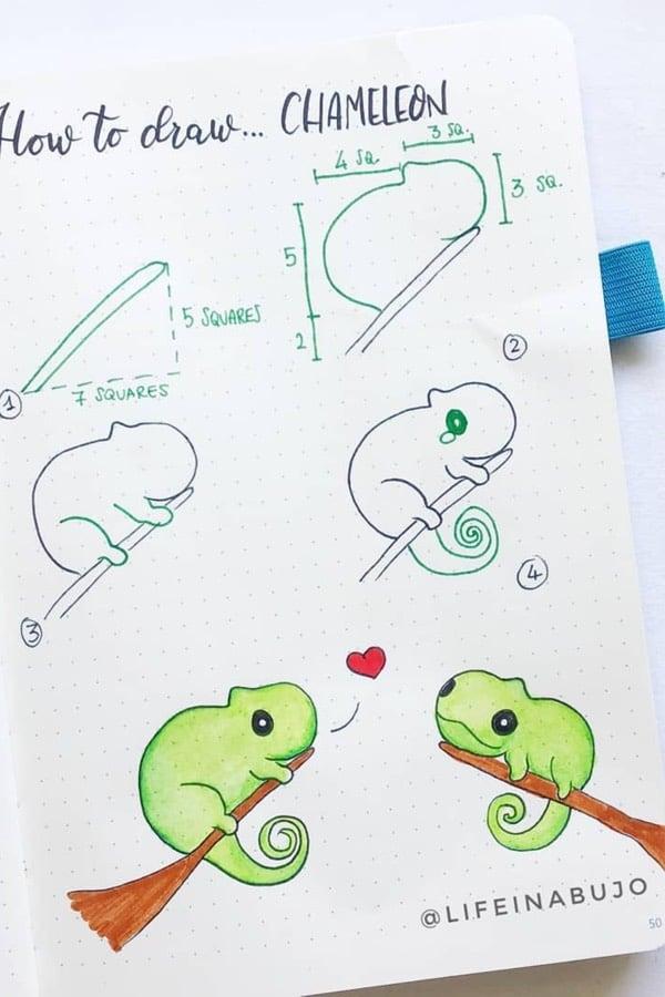 bujo chameleon doodle tutorial
