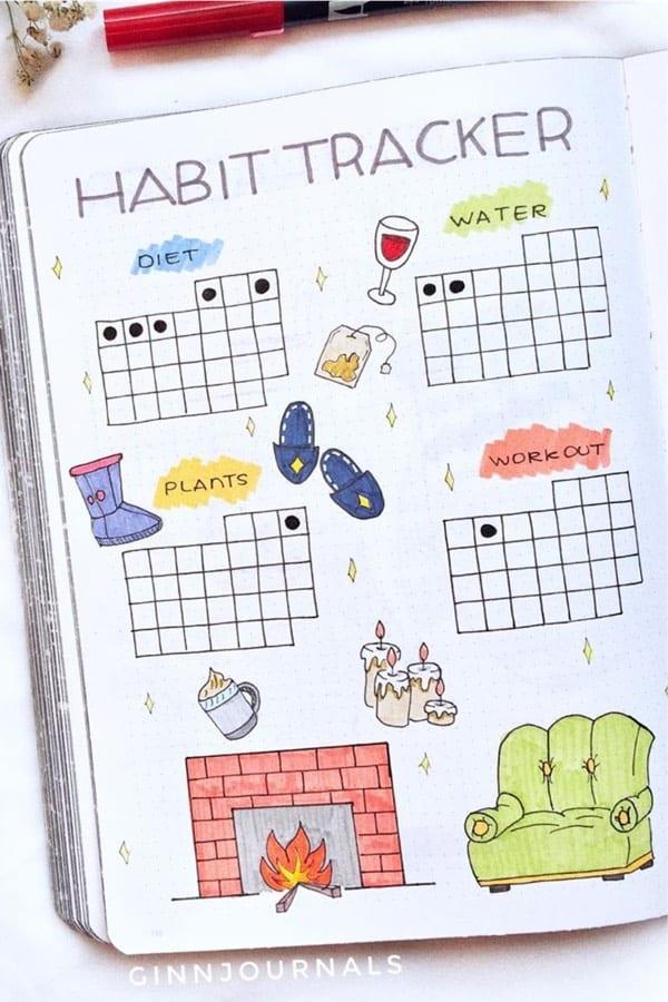 cute habit spread for december