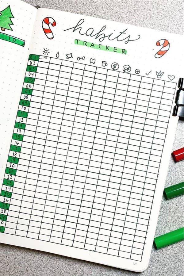 full page bullet journal tracker