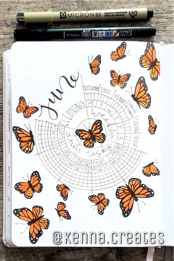 butterfly theme bujo spread