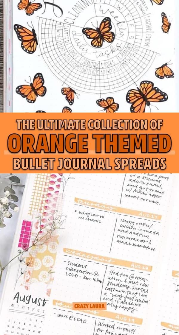 list of bujo spreads with orange theme