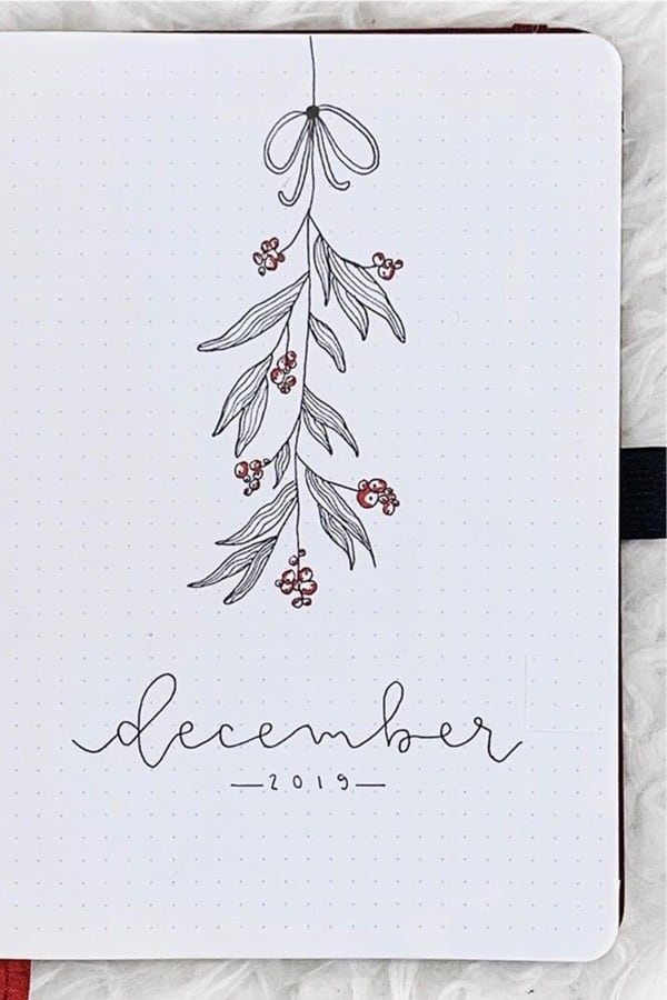 mistletoe bullet journal spread
