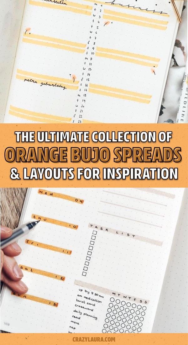 list of orange bullet journal spreads