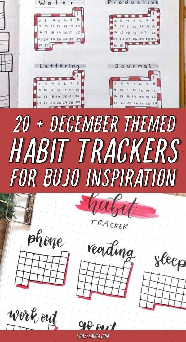 december themed bujo tracker spreads