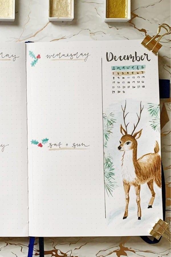 festive bullet journal examples