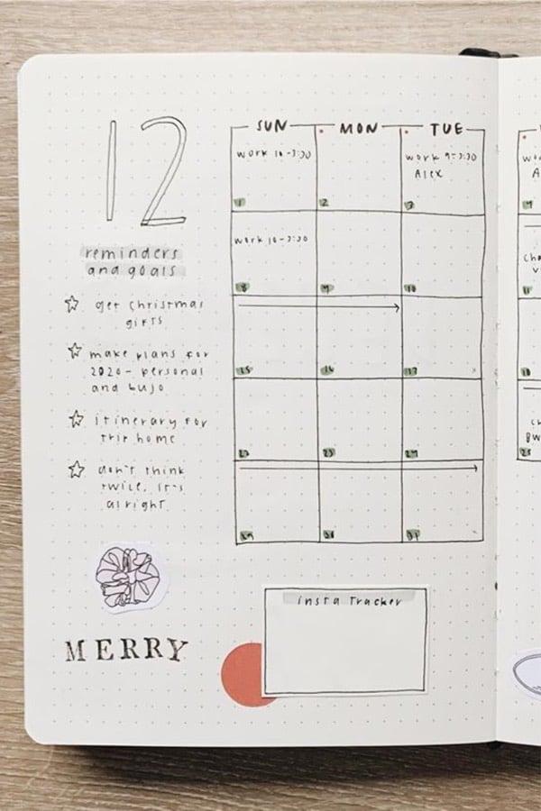 easy layout ideas for december bujo