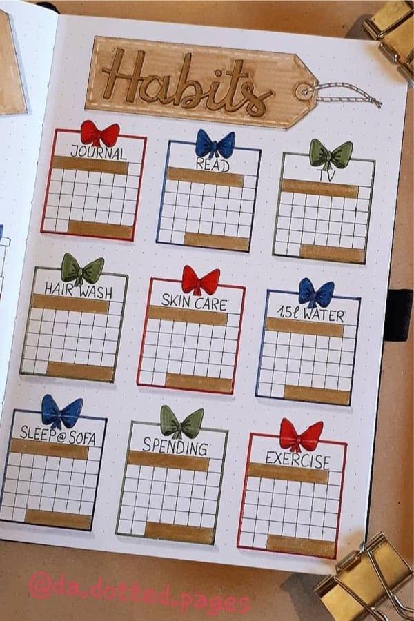 bullet journal tracker ideas for winter