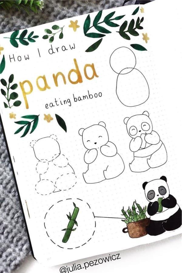 step by step panda doodles