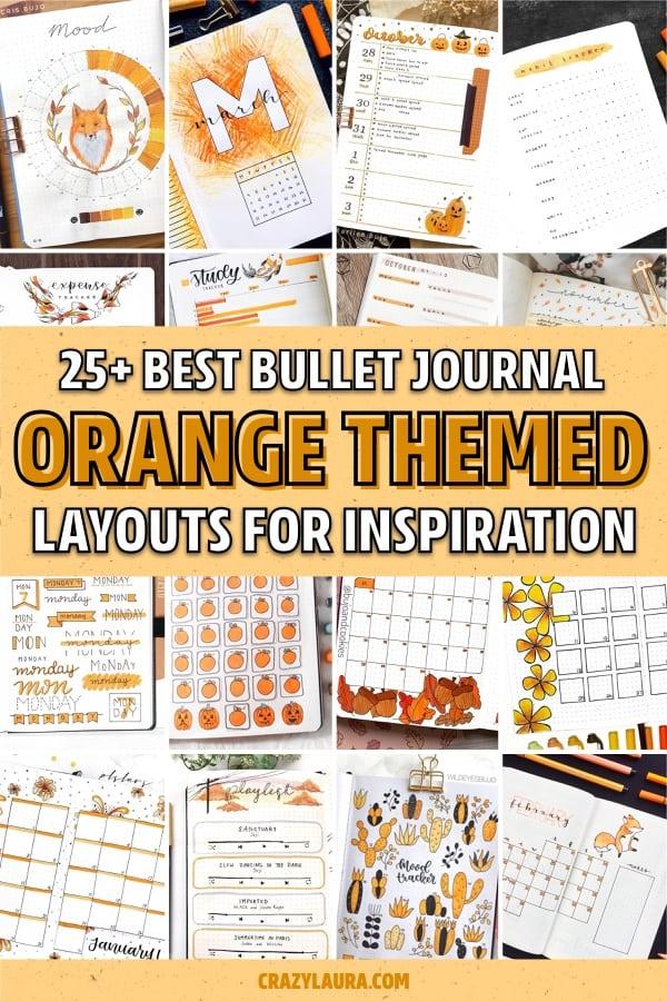 orange bullet journal pages