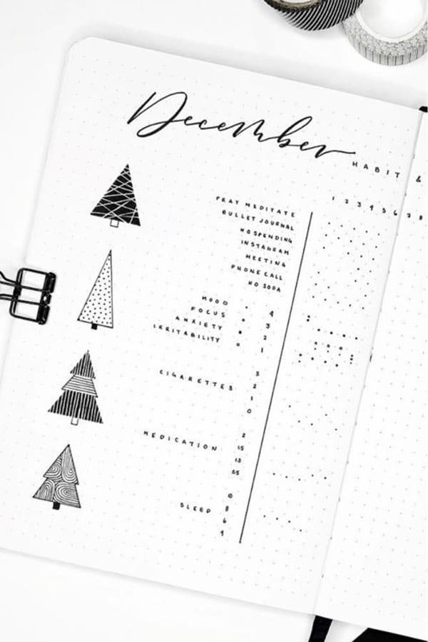 feelings bujo tracker for december