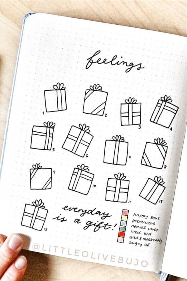 christmas themed bullet journal tracker