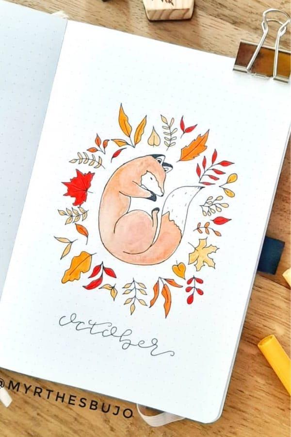 orange fox themed bujo page