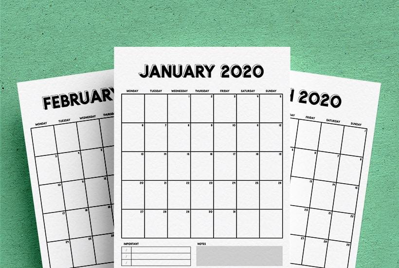 Free Vertical Calendar Printable For 2020