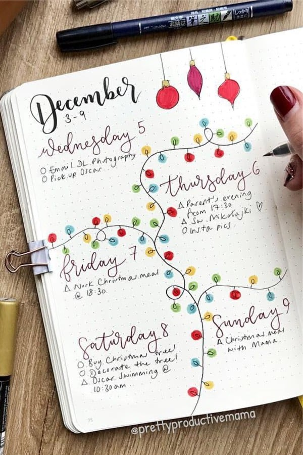 cute december weekly spread ideas