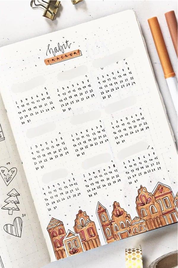 december themed bujo tracking spread