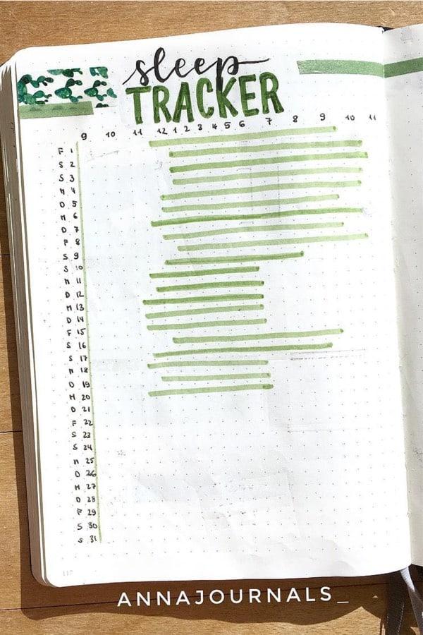bujo sleep tracker with green markers