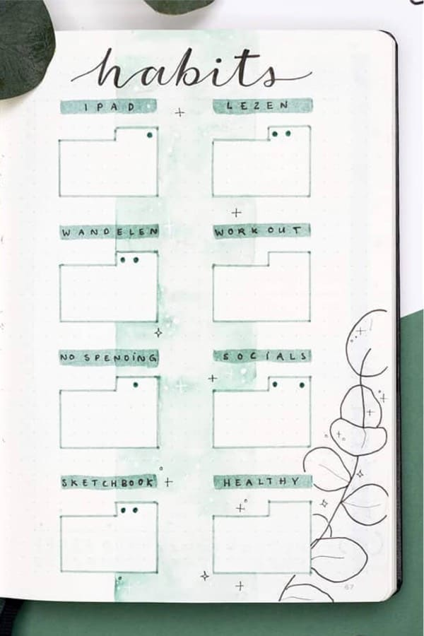 bullet journal tracker with green theme