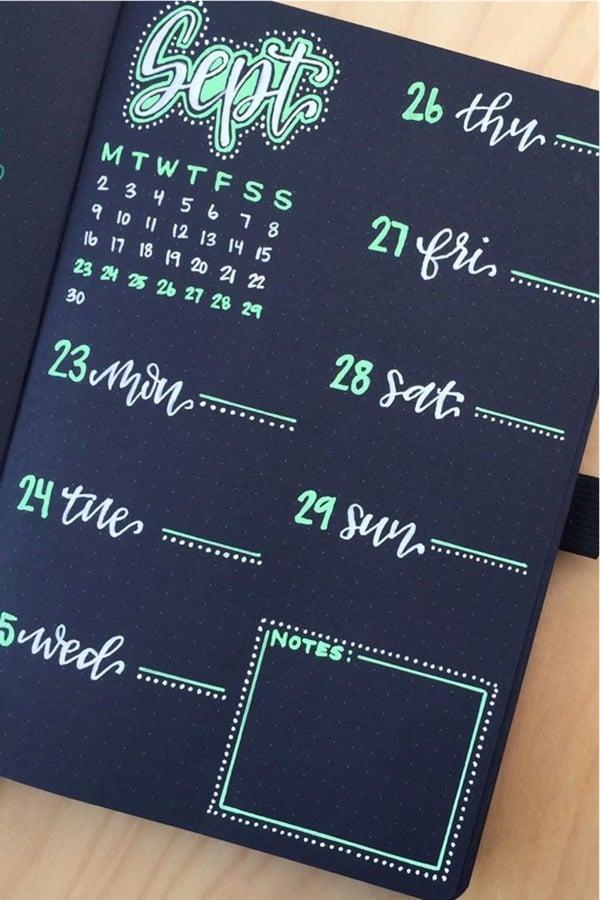 green marker bullet journal spread