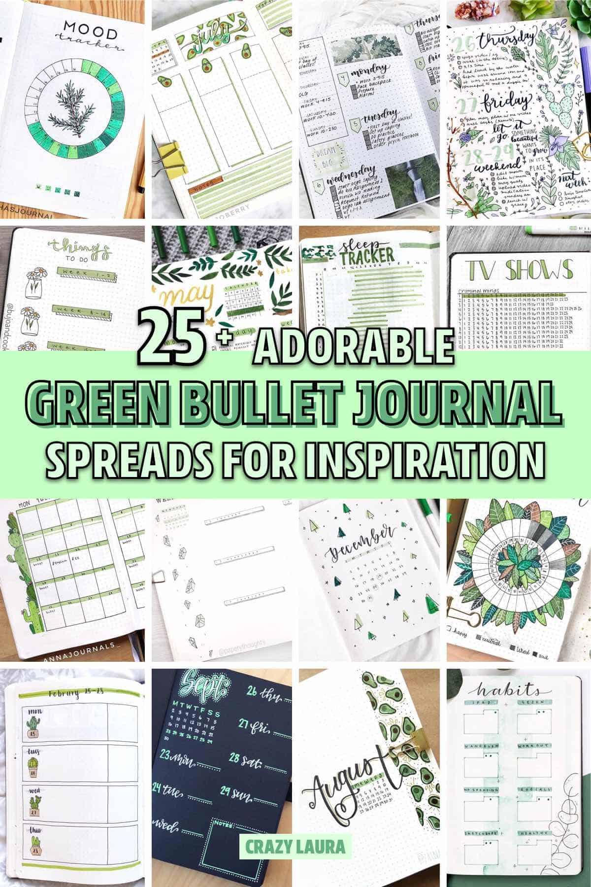 green bullet journal spread inspiration