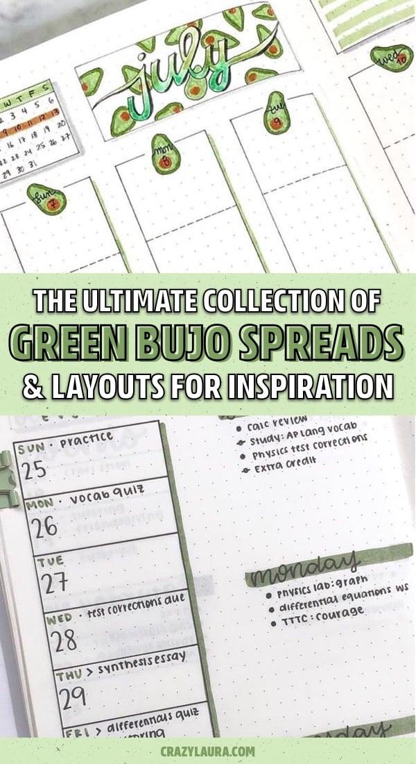 easy bullet journal green theme