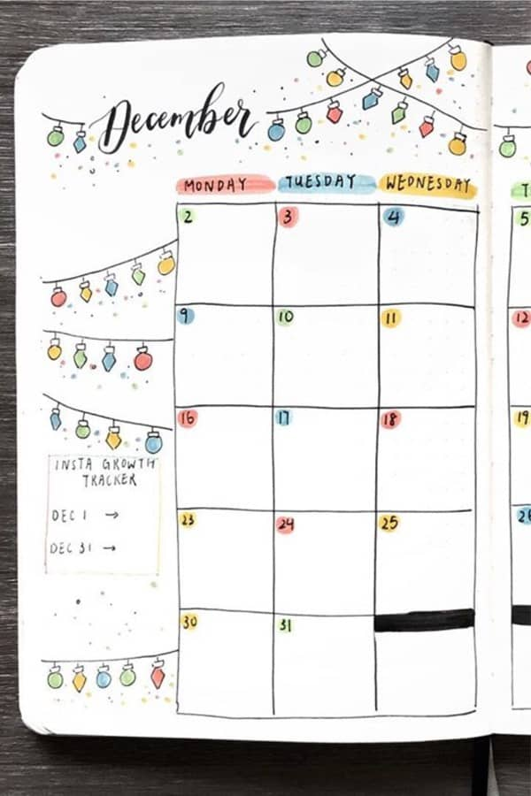 monthly log with holiday theme