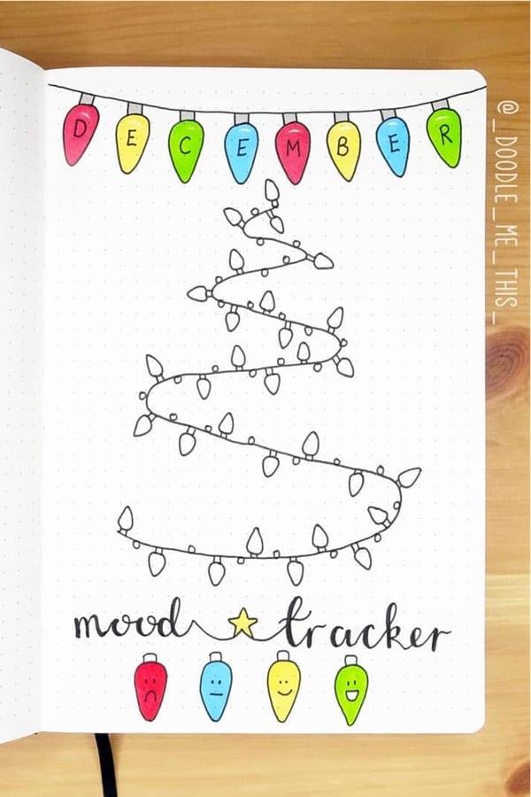 christmas themed bullet journal mood tracker