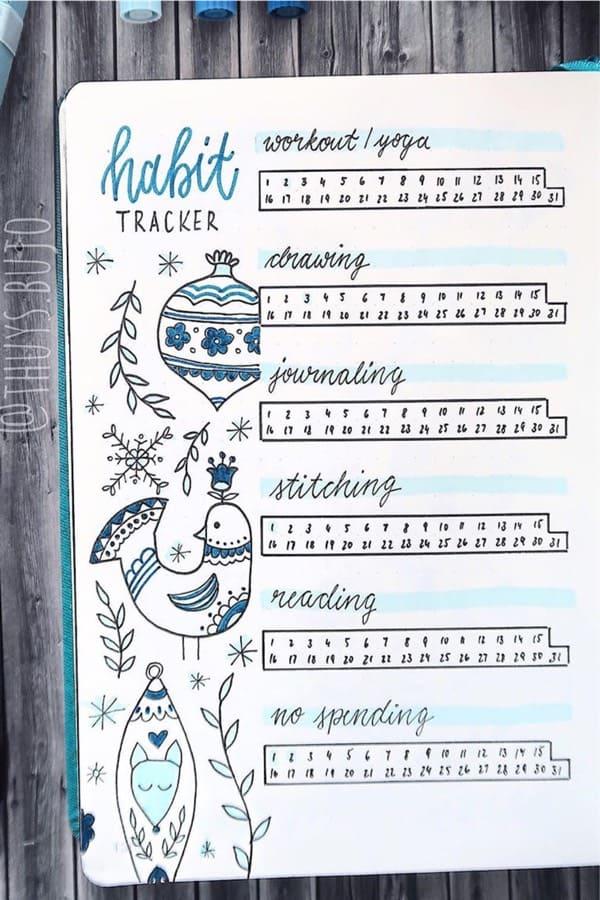 december bujo tracker in blue